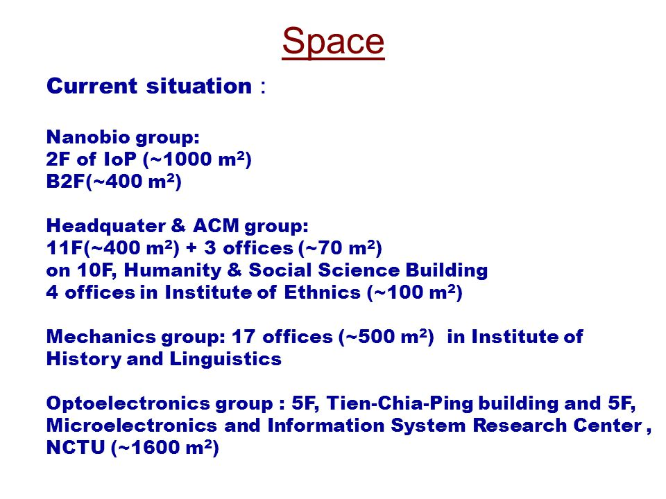 Space Current situation : Nanobio group: 2F of IoP (~1000 m 2 ) B2F(~400 m 2 ) Headquater & ACM group: 11F(~400 m 2 ) + 3 offices (~70 m 2 ) on 10F, H