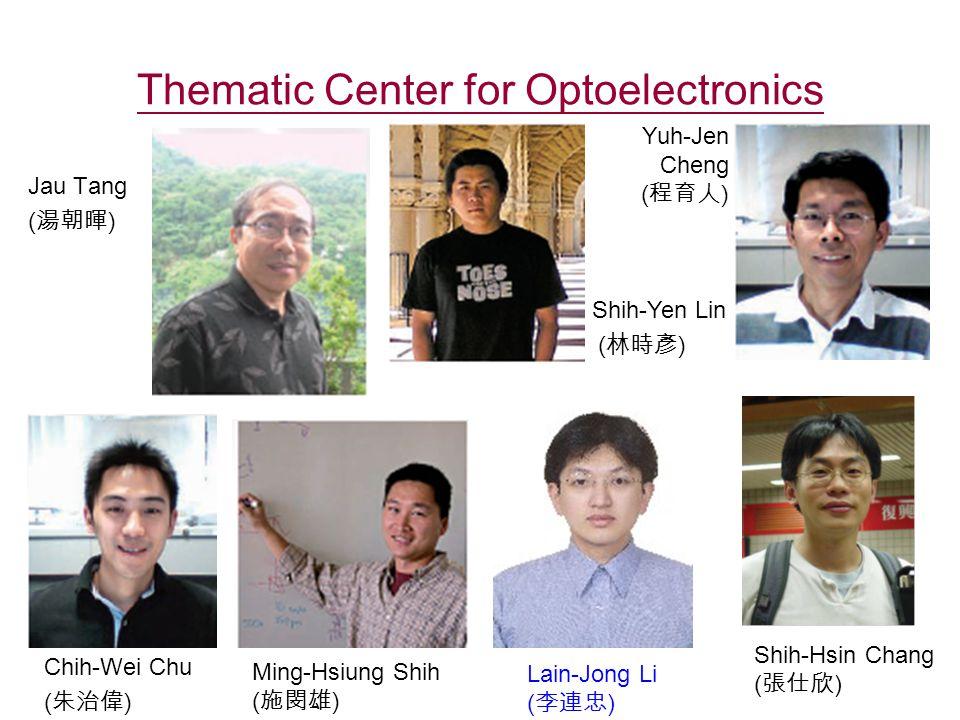 Thematic Center for Optoelectronics Jau Tang ( 湯朝暉 ) Chih-Wei Chu ( 朱治偉 ) Shih-Yen Lin ( 林時彥 ) Yuh-Jen Cheng ( 程育人 ) Ming-Hsiung Shih ( 施閔雄 ) Shih-Hsin Chang ( 張仕欣 ) Lain-Jong Li ( 李連忠 )