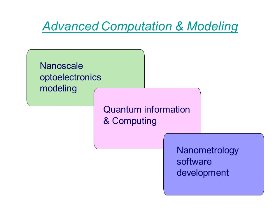 Advanced Computation & Modeling Nanoscale optoelectronics modeling Quantum information & Computing Nanometrology software development