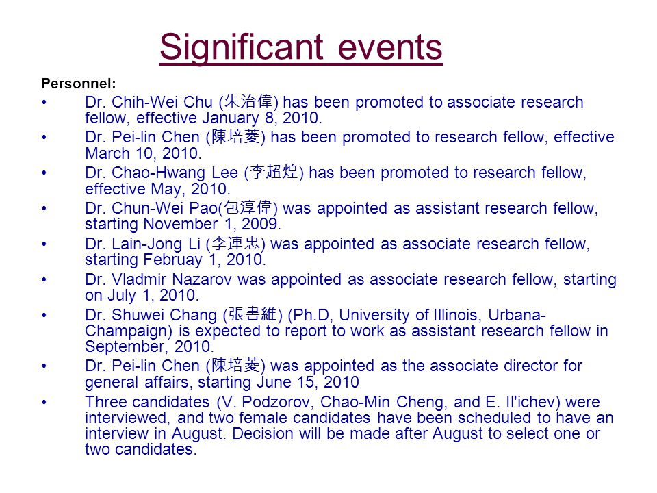 Significant events Personnel: Dr.
