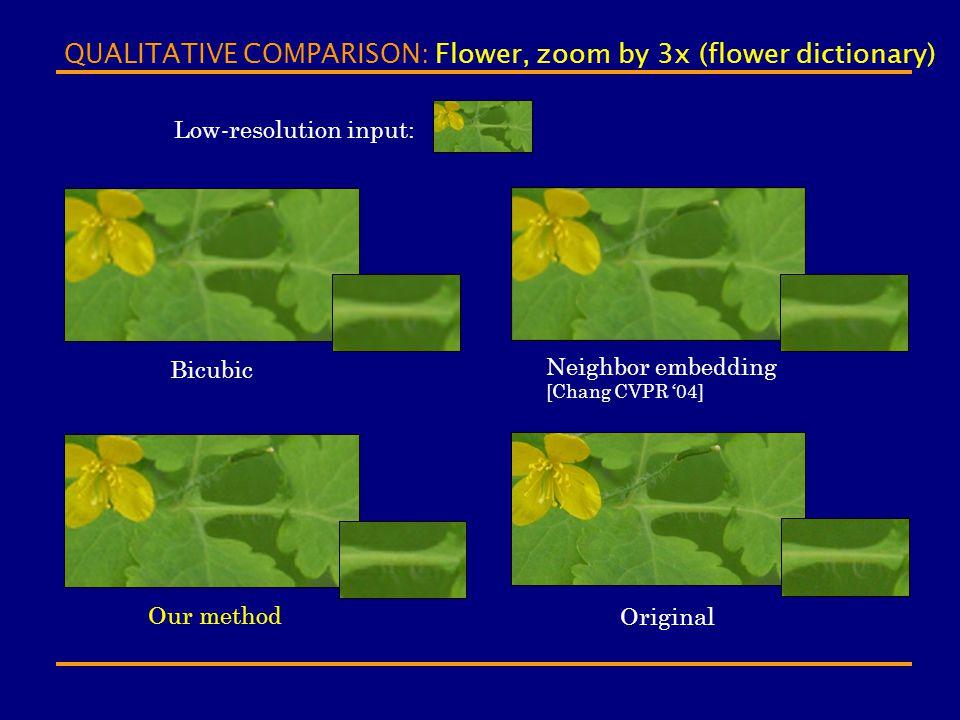 QUALITATIVE COMPARISON: Flower, zoom by 3x (flower dictionary) Bicubic Neighbor embedding [Chang CVPR '04] Our method Original Low-resolution input: