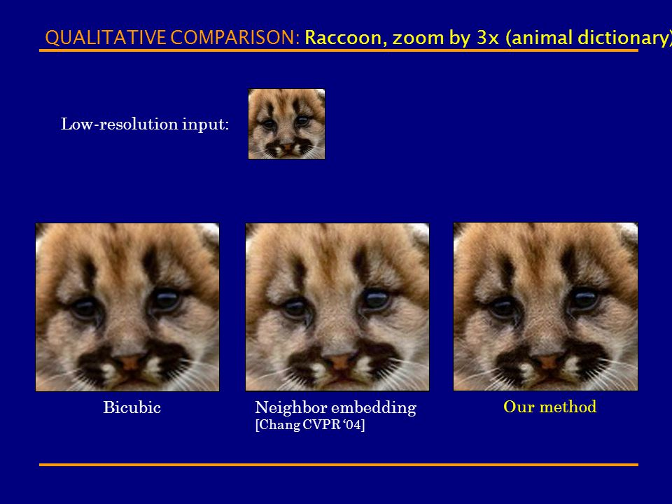 QUALITATIVE COMPARISON: Raccoon, zoom by 3x (animal dictionary) Bicubic Our method Neighbor embedding [Chang CVPR '04] Low-resolution input: