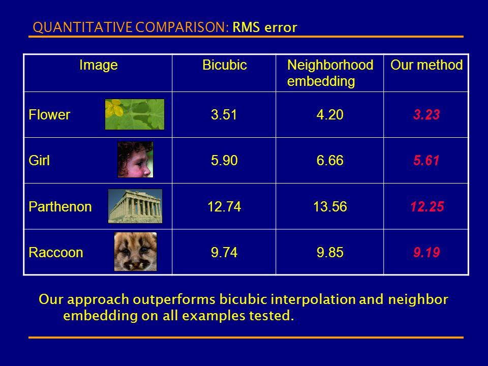 QUANTITATIVE COMPARISON: RMS error ImageBicubicNeighborhood embedding Our method Flower3.514.203.23 Girl5.906.665.61 Parthenon12.7413.5612.25 Raccoon9