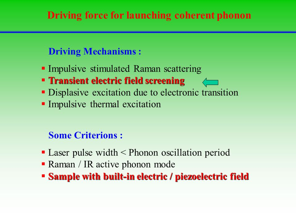 Driving force for launching coherent phonon  Impulsive stimulated Raman scattering Transient electric field screening  Transient electric field screening  Displasive excitation due to electronic transition  Impulsive thermal excitation  Laser pulse width < Phonon oscillation period  Raman / IR active phonon mode Sample with built-in electric / piezoelectric field  Sample with built-in electric / piezoelectric field Some Criterions : Driving Mechanisms :