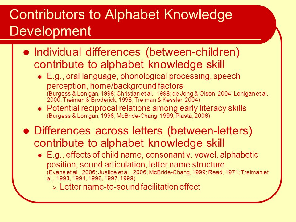 Contributors to Alphabet Knowledge Development Individual differences (between-children) contribute to alphabet knowledge skill E.g., oral language, p