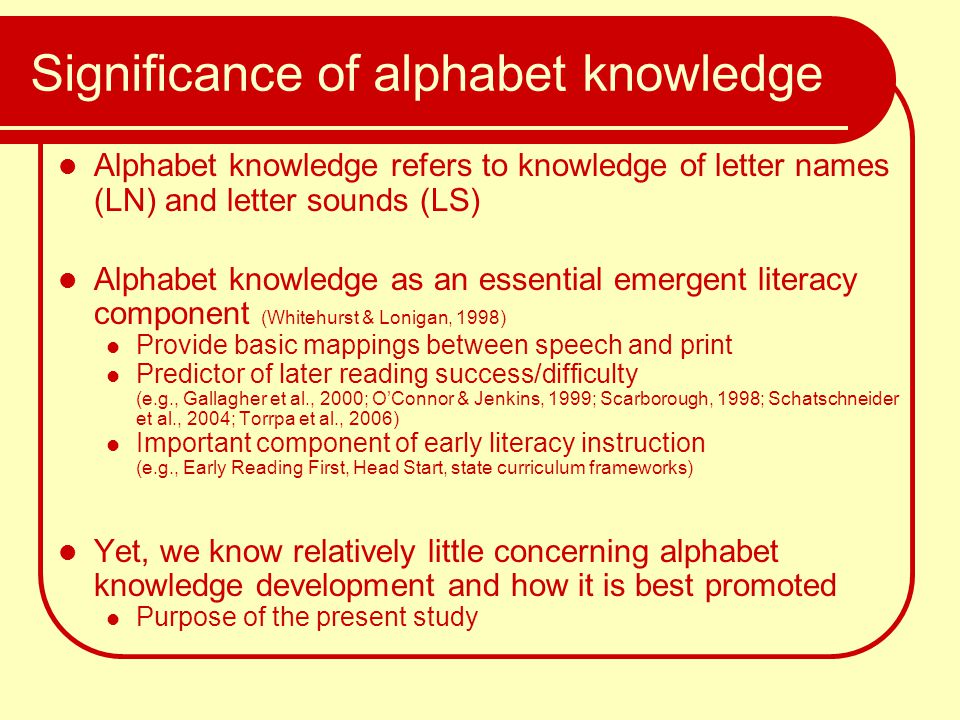 Significance of alphabet knowledge Alphabet knowledge refers to knowledge of letter names (LN) and letter sounds (LS) Alphabet knowledge as an essenti