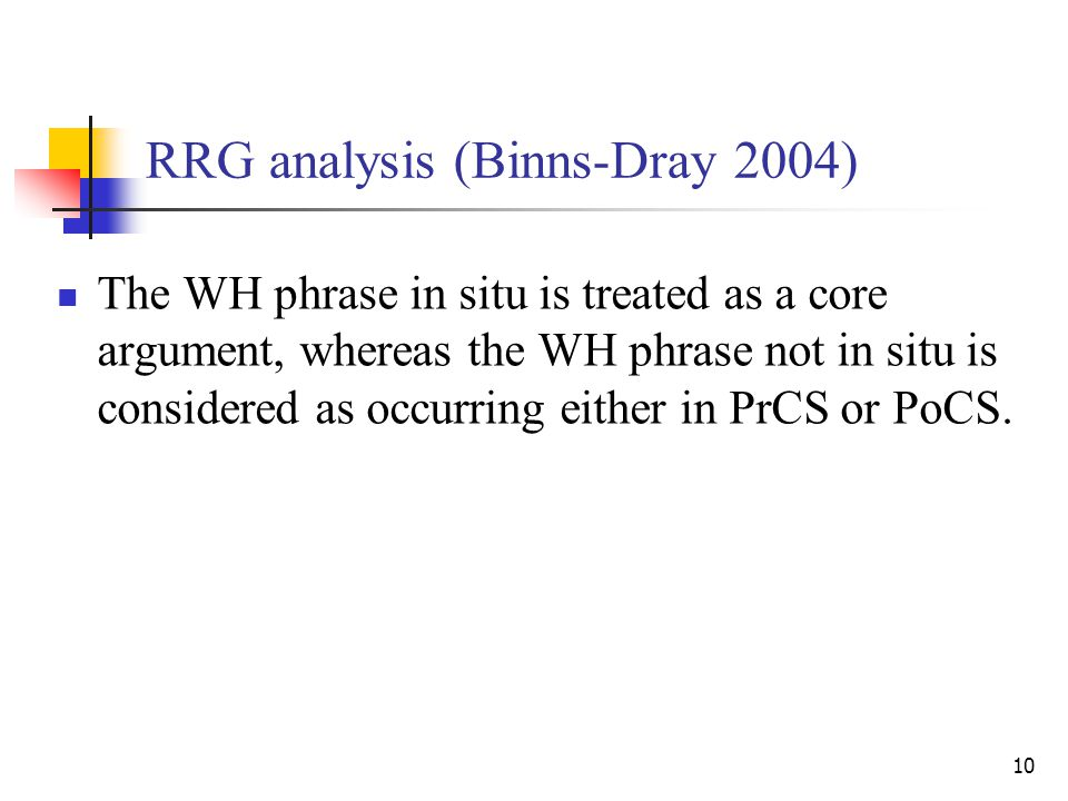 10 RRG analysis (Binns-Dray 2004) The WH phrase in situ is treated as a core argument, whereas the WH phrase not in situ is considered as occurring either in PrCS or PoCS.