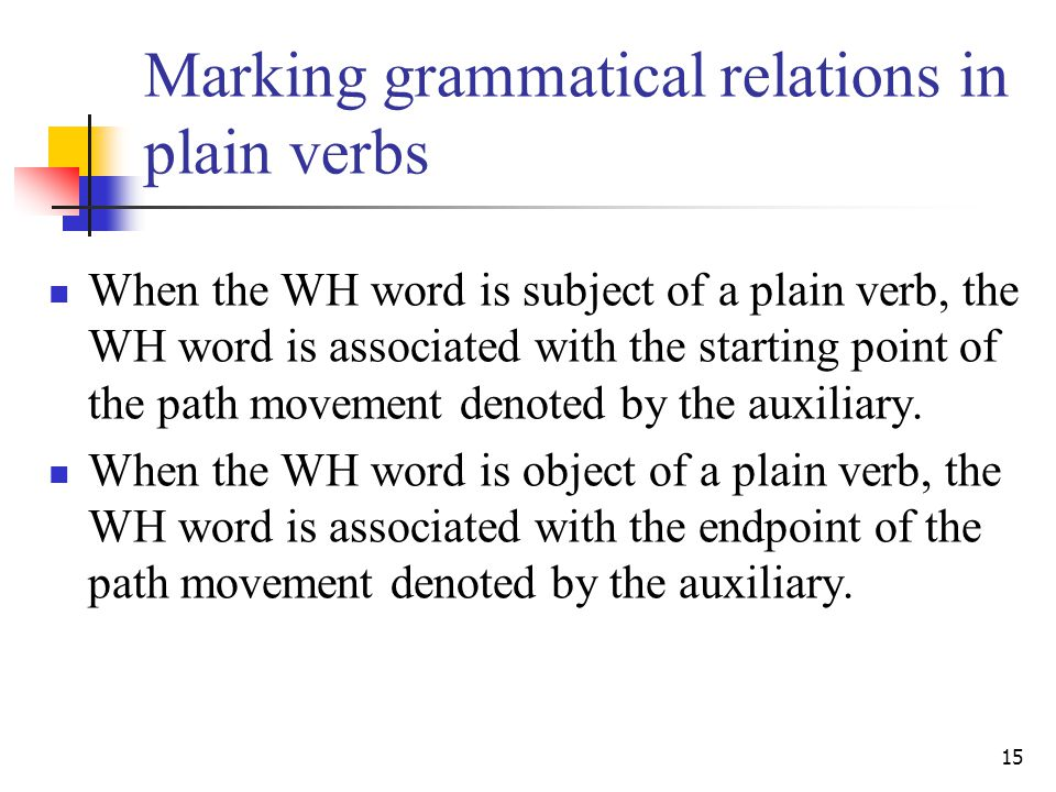 15 Marking grammatical relations in plain verbs When the WH word is subject of a plain verb, the WH word is associated with the starting point of the path movement denoted by the auxiliary.
