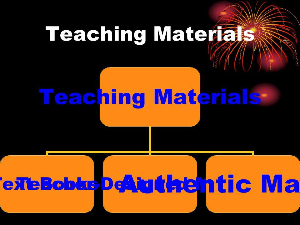 Teaching Materials Text Books Teacher- Designed Materials Authentic Materials