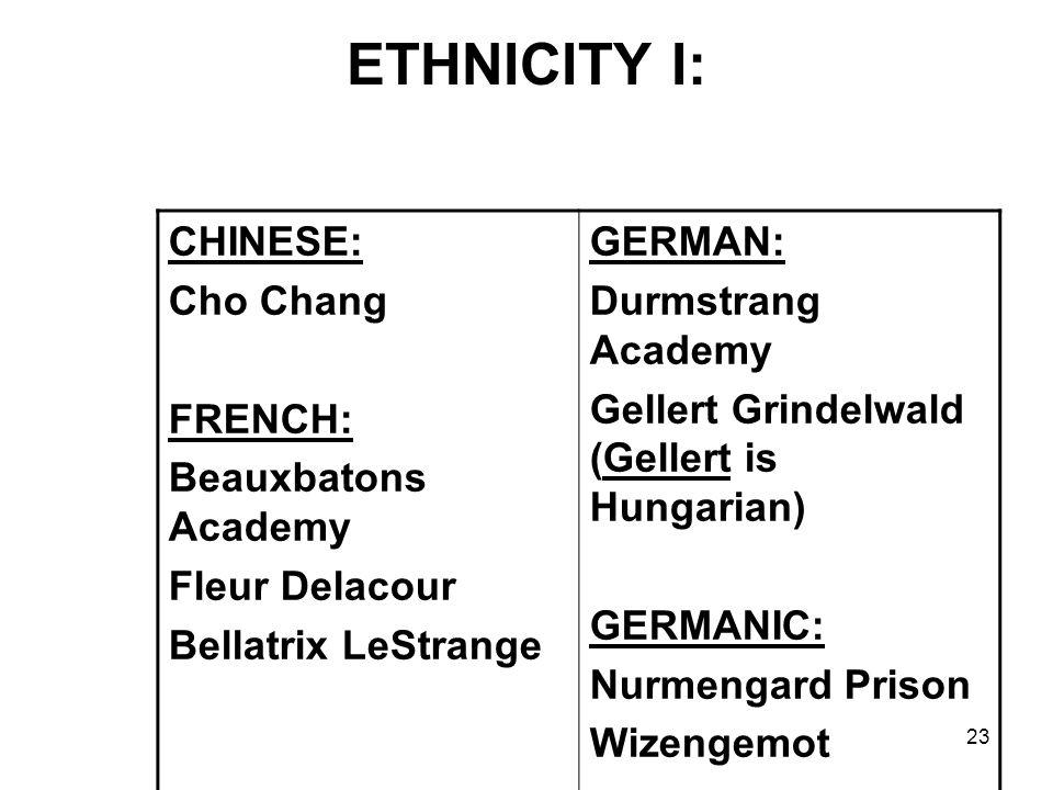 23 ETHNICITY I: CHINESE: Cho Chang FRENCH: Beauxbatons Academy Fleur Delacour Bellatrix LeStrange GERMAN: Durmstrang Academy Gellert Grindelwald (Gellert is Hungarian) GERMANIC: Nurmengard Prison Wizengemot