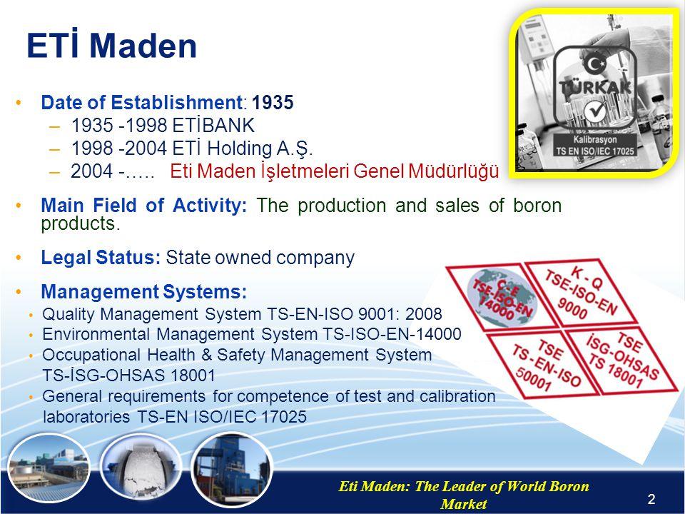Eti Maden: The Leader of World Boron Market Dr. Murat BiLEN Head of Development of Technology Department