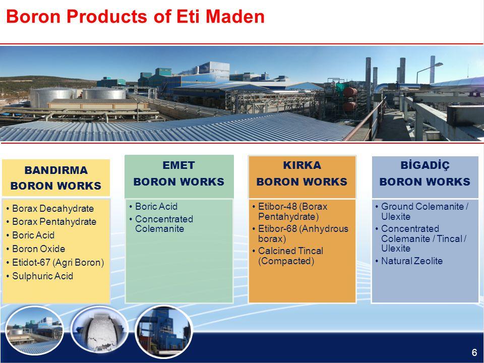 Production Sites of Eti Maden EMET BORON WORKS BİGADİÇ BORON WORKS BANDIRMA BORON AND ACİD WORKS KIRKA BORON WORKS ETİ MADEN İŞLETMELERİ GENEL MÜDÜRLÜ