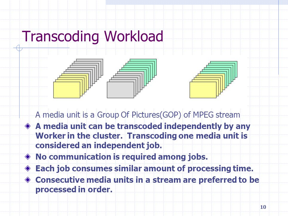 10 Transcoding Workload A media unit is a Group Of Pictures(GOP) of MPEG stream A media unit can be transcoded independently by any Worker in the cluster.