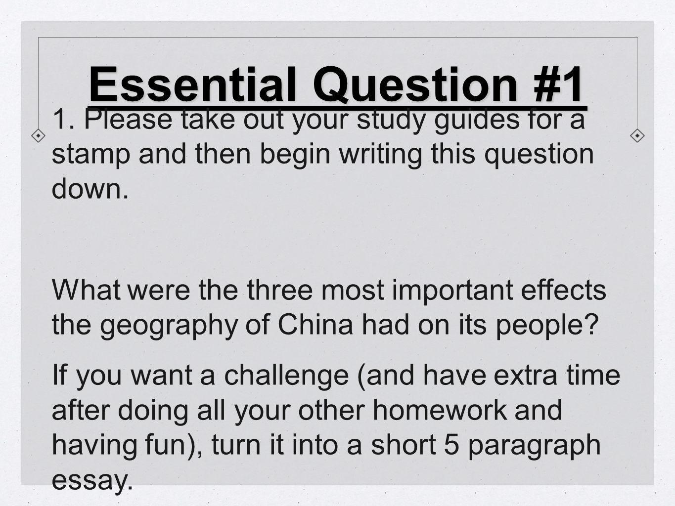 Question 3 Q: What were two great achievements of the Sui Dynasty (pg.