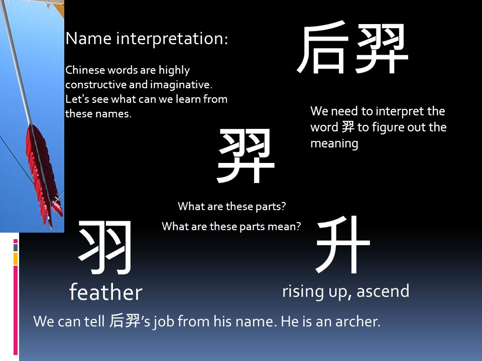 后羿 Name interpretation: Chinese words are highly constructive and imaginative.