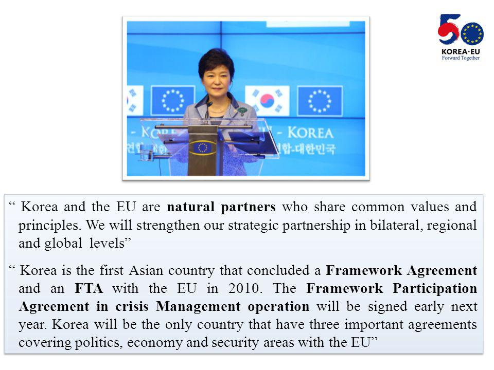 2 Korea and the EU are natural partners who share common values and principles.