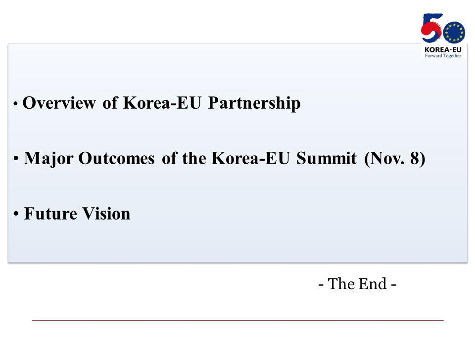 Overview of Korea-EU Partnership Major Outcomes of the Korea-EU Summit (Nov.