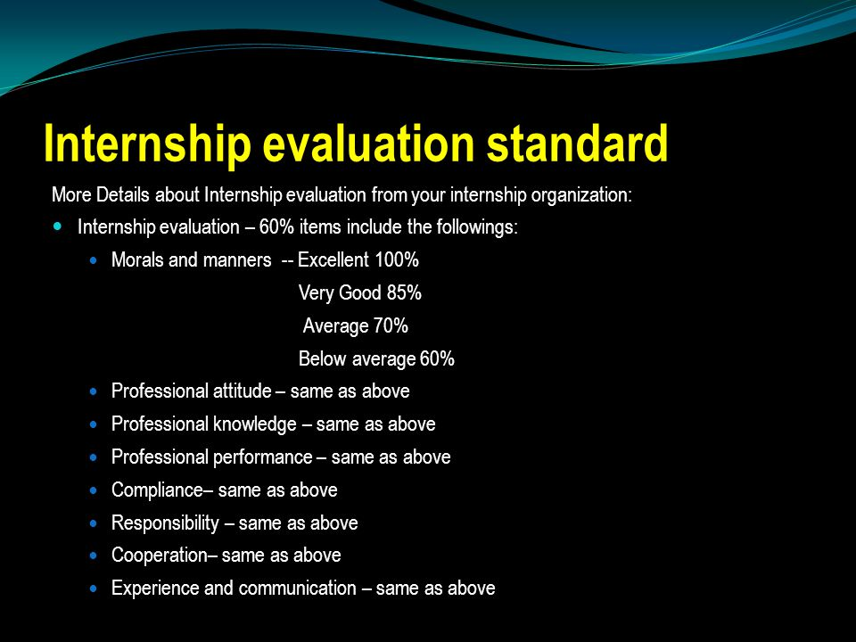 Internship evaluation standard More Details about Internship evaluation from your internship organization: Internship evaluation – 60% items include the followings: Morals and manners -- Excellent 100% Very Good 85% Average 70% Below average 60% Professional attitude – same as above Professional knowledge – same as above Professional performance – same as above Compliance– same as above Responsibility – same as above Cooperation– same as above Experience and communication – same as above