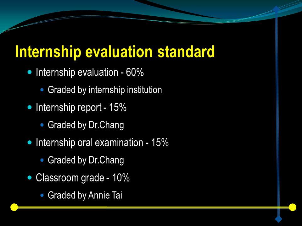 Internship evaluation standard Internship evaluation - 60% Graded by internship institution Internship report - 15% Graded by Dr.Chang Internship oral examination - 15% Graded by Dr.Chang Classroom grade - 10% Graded by Annie Tai