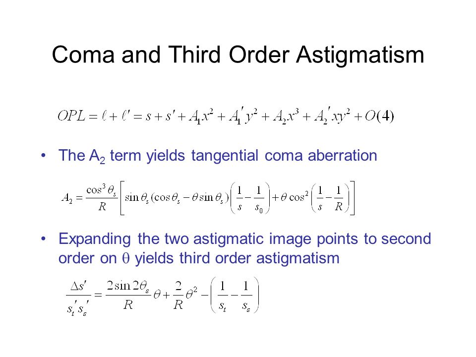 Coma and Third Order Astigmatism The A 2 term yields tangential coma aberration Expanding the two astigmatic image points to second order on  yields third order astigmatism