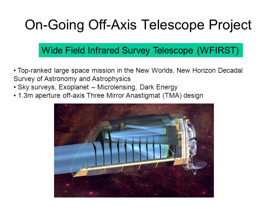 On-Going Off-Axis Telescope Project Wide Field Infrared Survey Telescope (WFIRST) Top-ranked large space mission in the New Worlds, New Horizon Decada