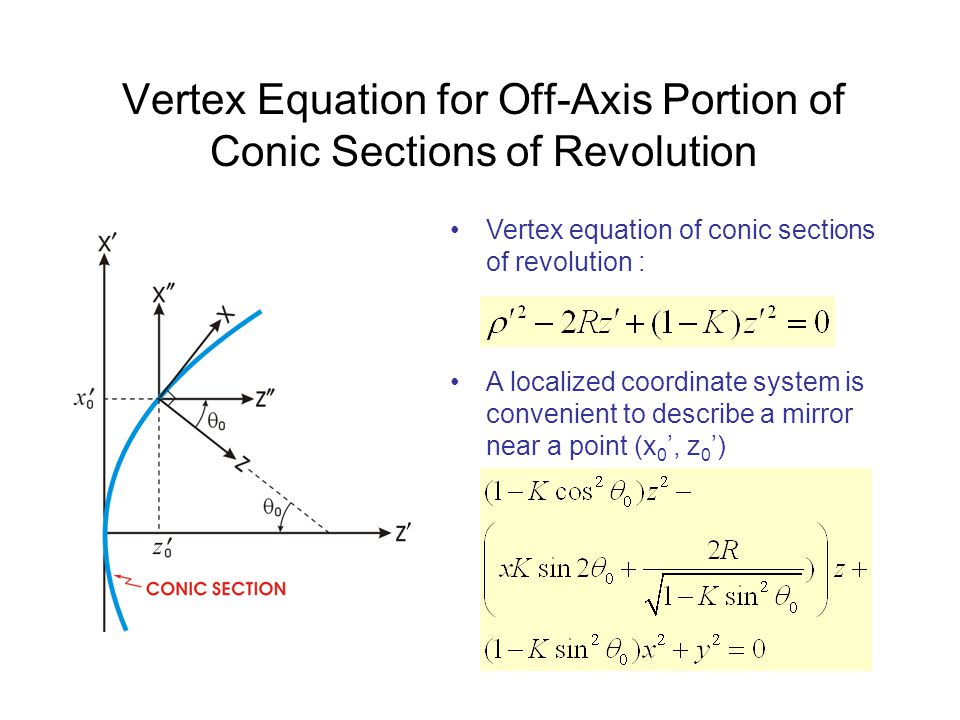 Vertex Equation for Off-Axis Portion of Conic Sections of Revolution A localized coordinate system is convenient to describe a mirror near a point (x 0 ', z 0 ') Vertex equation of conic sections of revolution :