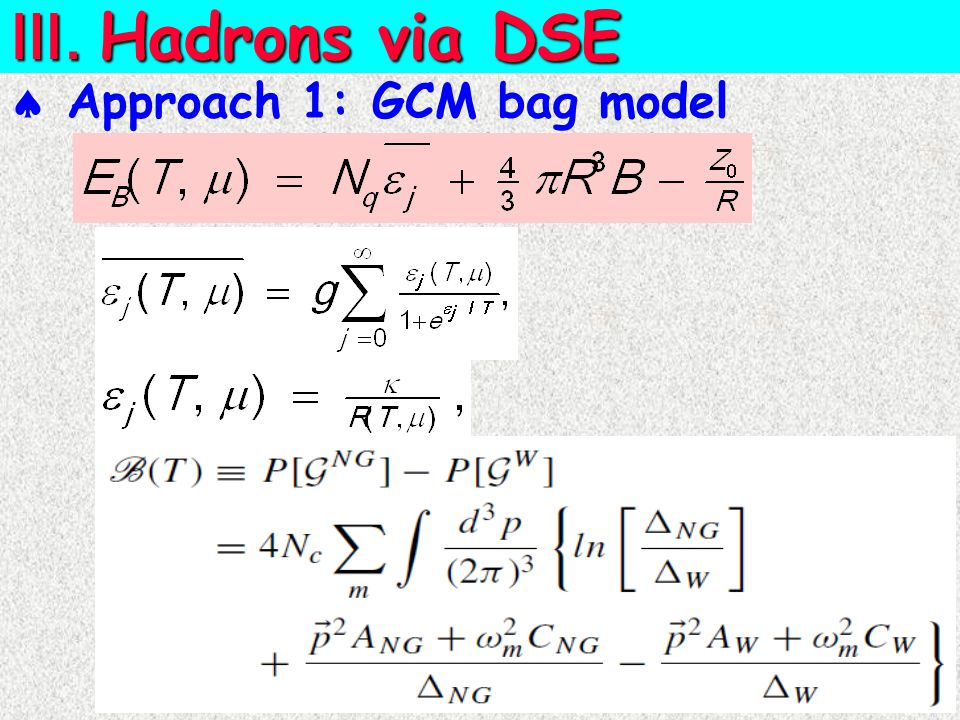  Approach 1: GCM bag model Ⅲ. Hadrons via DSE