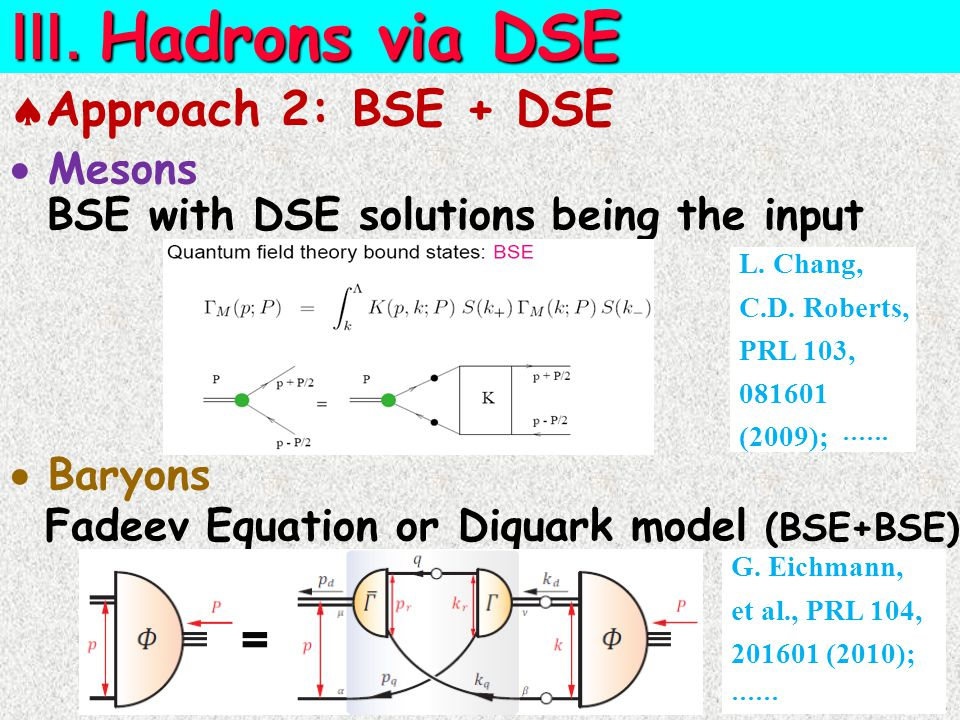  Approach 2: BSE + DSE  Mesons BSE with DSE solutions being the input  Baryons Fadeev Equation or Diquark model (BSE+BSE) L.