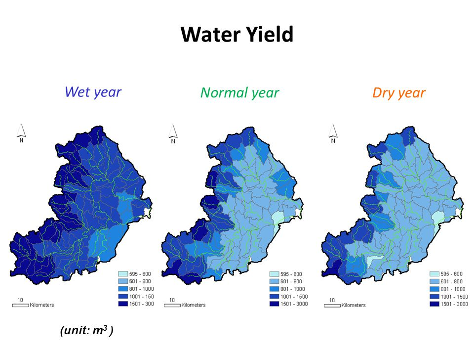 Dry year Wet year Water Yield Normal year (unit: m 3 )