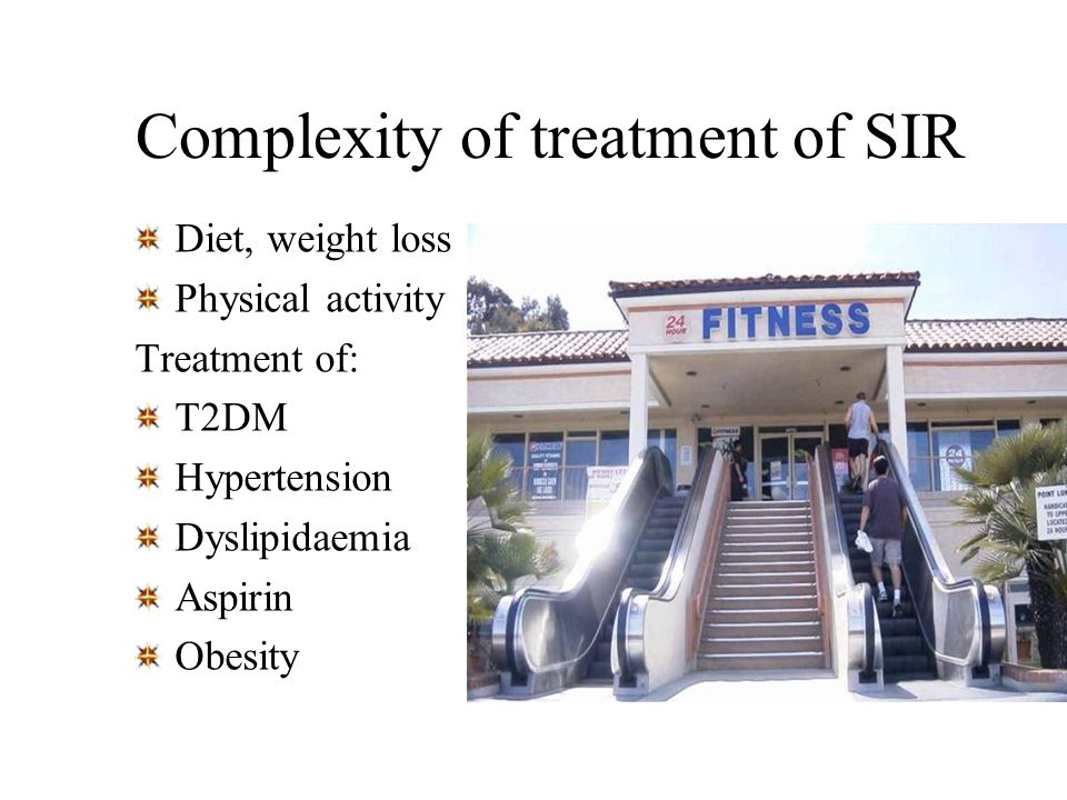 Complexity of treatment of SIR Diet, weight loss Physical activity Treatment of: T2DM Hypertension Dyslipidaemia Aspirin Obesity
