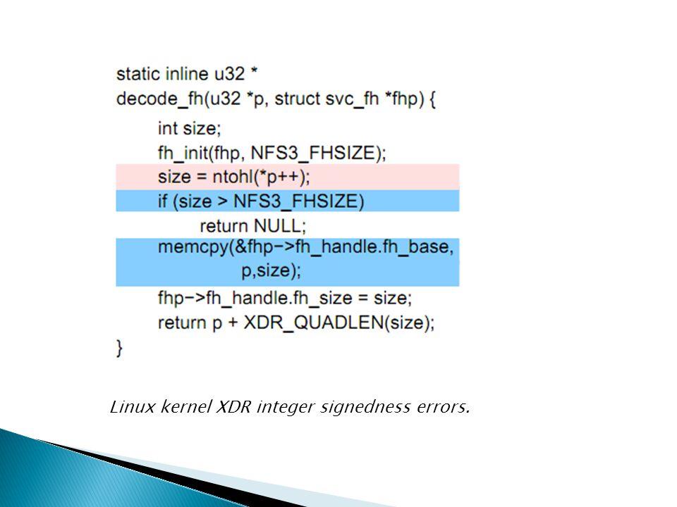 Linux kernel XDR integer signedness errors.