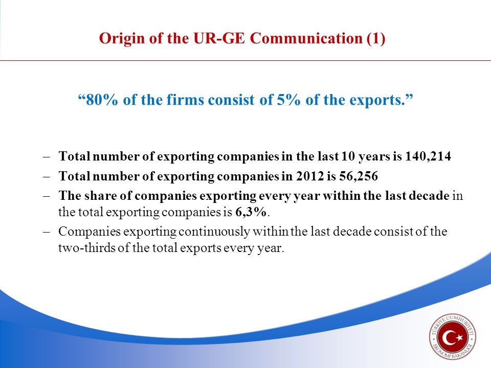Origin of the UR-GE Communication (1) 80% of the firms consist of 5% of the exports. and we need to increase this rate.