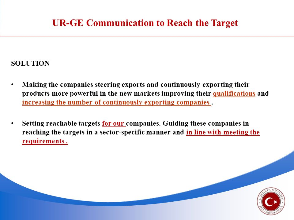 UR-GE Communication to Reach the Target SOLUTION Making the companies steering exports and continuously exporting their products more powerful in the new markets improving their qualifications and increasing the number of continuously exporting companies.
