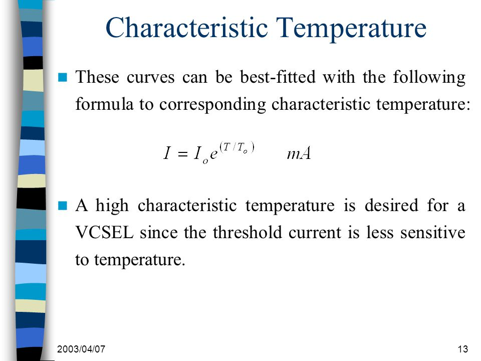 2003/04/0713 Characteristic Temperature These curves can be best-fitted with the following formula to corresponding characteristic temperature: A high characteristic temperature is desired for a VCSEL since the threshold current is less sensitive to temperature.