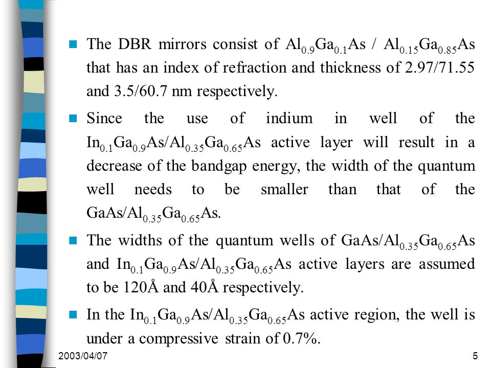 2003/04/075 The DBR mirrors consist of Al 0.9 Ga 0.1 As / Al 0.15 Ga 0.85 As that has an index of refraction and thickness of 2.97/71.55 and 3.5/60.7 nm respectively.