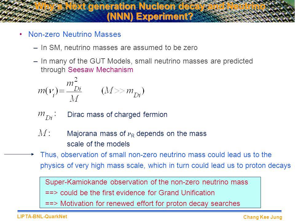 Chang Kee Jung LIPTA-BNL-QuarkNet Why a Next generation Nucleon decay and Neutrino (NNN) Experiment.