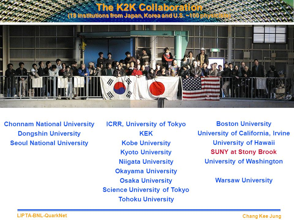 Chang Kee Jung LIPTA-BNL-QuarkNet The K2K Collaboration (18 institutions from Japan, Korea and U.S.