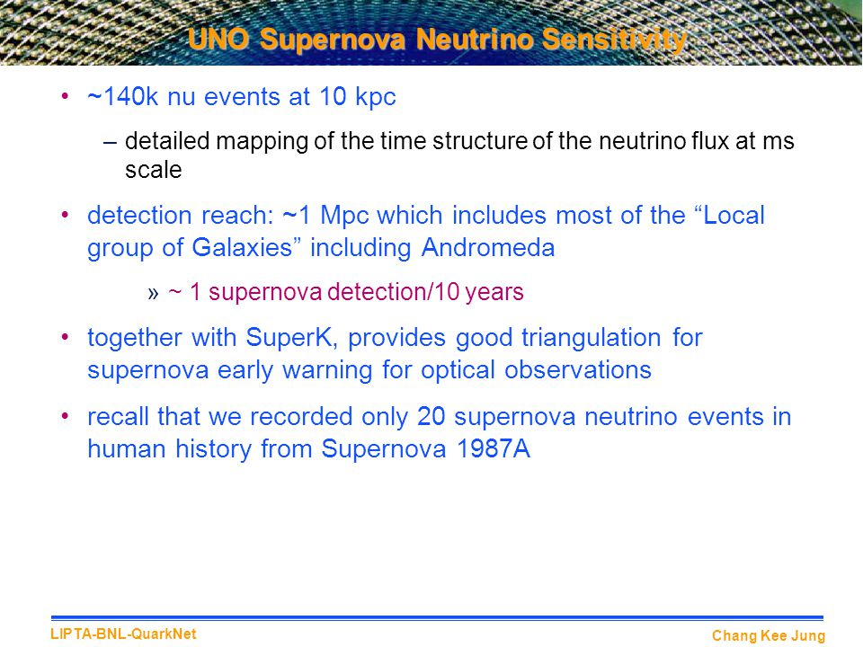 Chang Kee Jung LIPTA-BNL-QuarkNet UNO Supernova Neutrino Sensitivity ~140k nu events at 10 kpc –detailed mapping of the time structure of the neutrino flux at ms scale detection reach: ~1 Mpc which includes most of the Local group of Galaxies including Andromeda »~ 1 supernova detection/10 years together with SuperK, provides good triangulation for supernova early warning for optical observations recall that we recorded only 20 supernova neutrino events in human history from Supernova 1987A