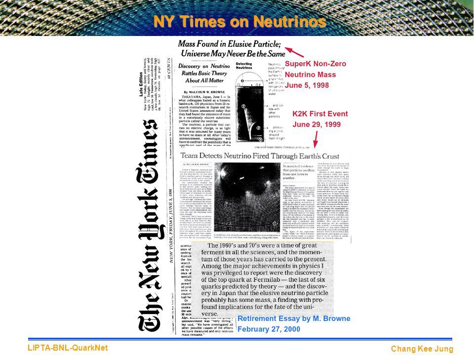 Chang Kee Jung LIPTA-BNL-QuarkNet NY Times on Neutrinos