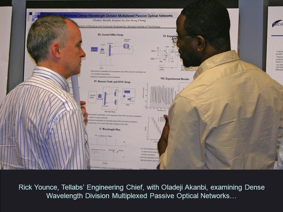 Rick Younce, Tellabs' Engineering Chief, with Oladeji Akanbi, examining Dense Wavelength Division Multiplexed Passive Optical Networks…
