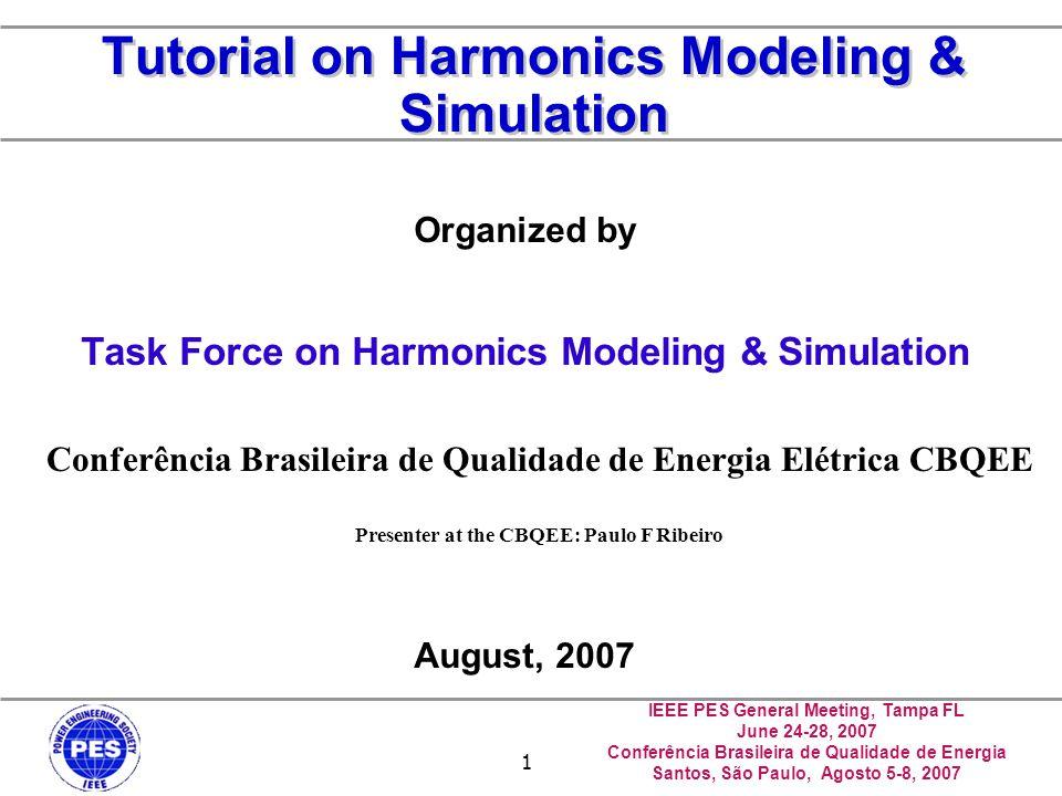 IEEE PES General Meeting, Tampa FL June 24-28, 2007 Conferência Brasileira de Qualidade de Energia Santos, São Paulo, Agosto 5-8, 2007 1 Tutorial on H
