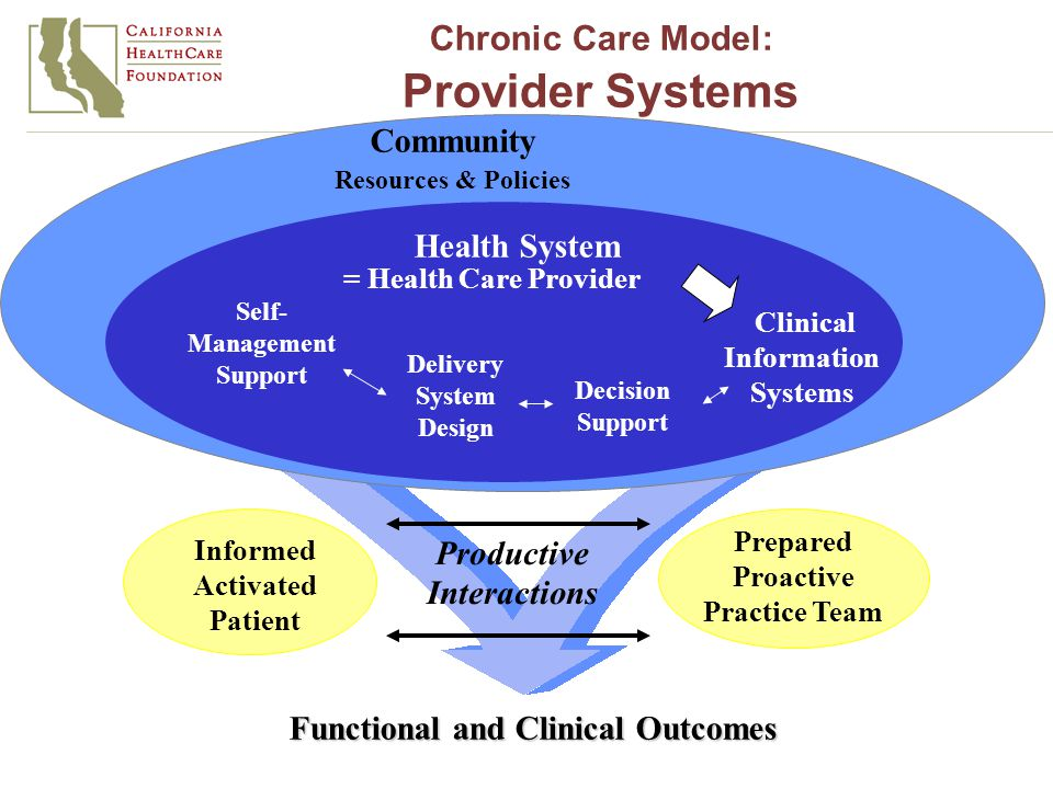 Informed Activated Patient Productive Interactions Prepared Proactive Practice Team Functional and Clinical Outcomes Delivery System Design Decision Support Clinical Information Systems Self- Management Support Health System Resources & Policies Community = Health Care Provider Chronic Care Model: Provider Systems