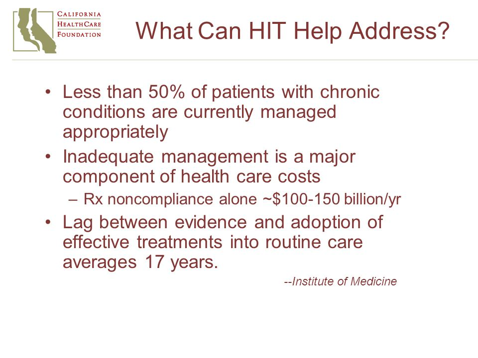 What Can HIT Help Address.