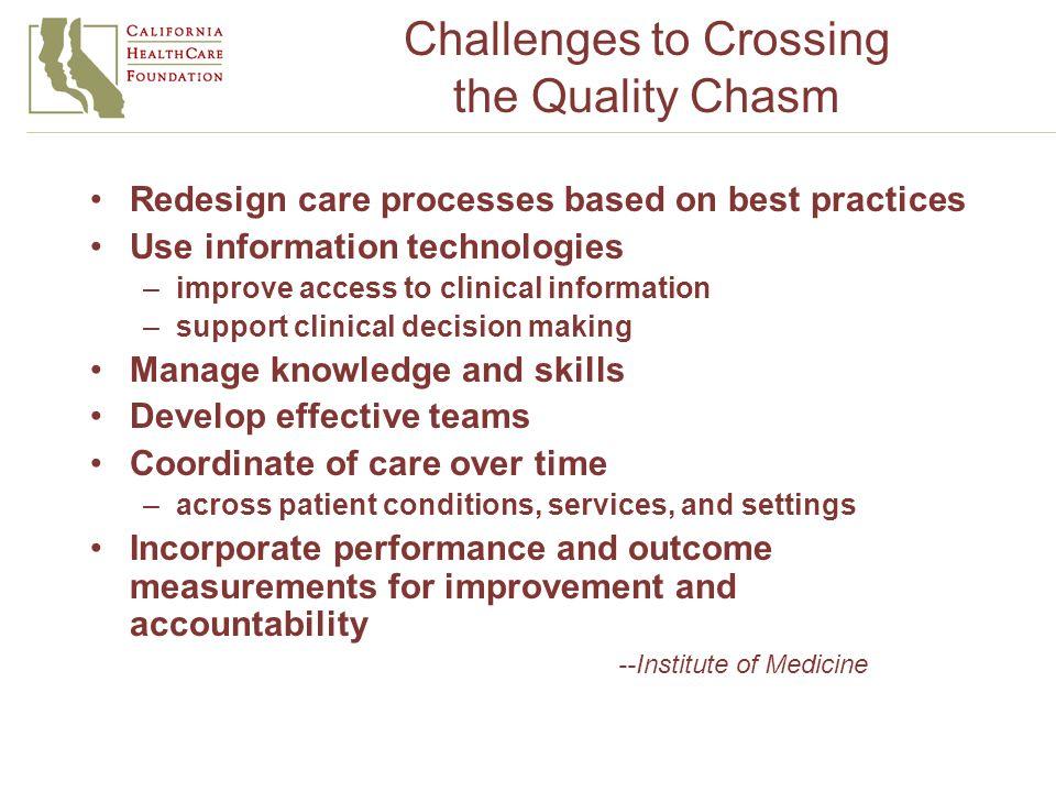 Challenges to Crossing the Quality Chasm Redesign care processes based on best practices Use information technologies –improve access to clinical information –support clinical decision making Manage knowledge and skills Develop effective teams Coordinate of care over time –across patient conditions, services, and settings Incorporate performance and outcome measurements for improvement and accountability --Institute of Medicine