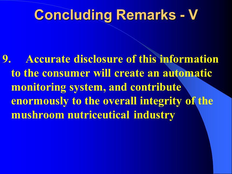 Concluding Remarks - V 9.