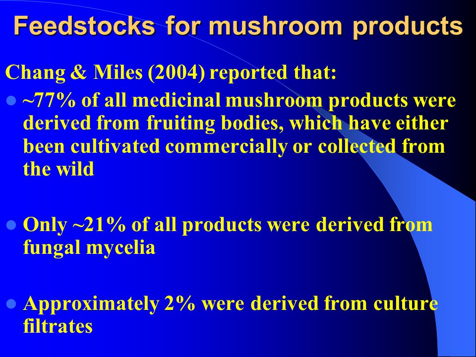 Feedstocks for mushroom products Chang & Miles (2004) reported that: ~77% of all medicinal mushroom products were derived from fruiting bodies, which