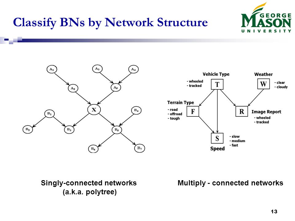 13 Classify BNs by Network Structure Multiply - connected networksSingly-connected networks (a.k.a.
