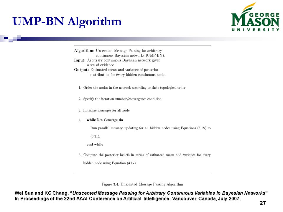 27 UMP-BN Algorithm Wei Sun and KC Chang.