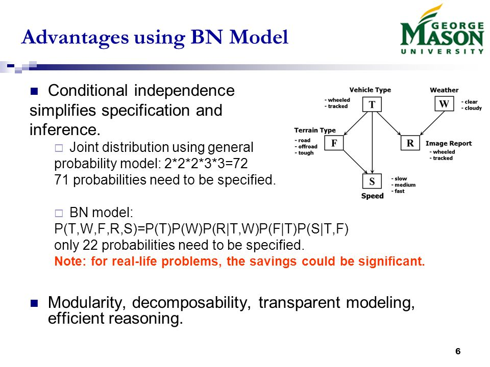 6 Advantages using BN Model Conditional independence simplifies specification and inference.
