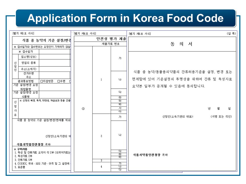Application Form in Korea Food Code